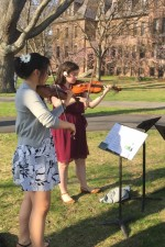 Coaching a little Ravel outside on the beautiful Cornell Arts Quad