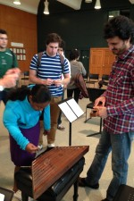 Post-rehearsal santur demo session with the staggering Siamak Aghei - Knights Dartmouth Residency 2013